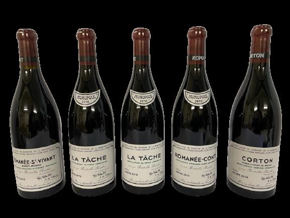 Domaine de la Romanée-Conti (DRC) – Assortiment 2016 – 5 bouteilles [1X RC / 2X LT / 1X RSV / 1 X CT]